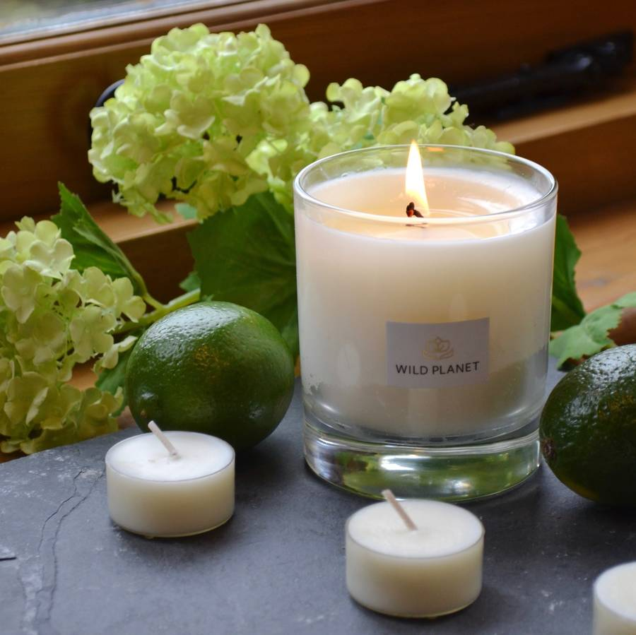 aromatherapy lime and bergamot scented natural candle by