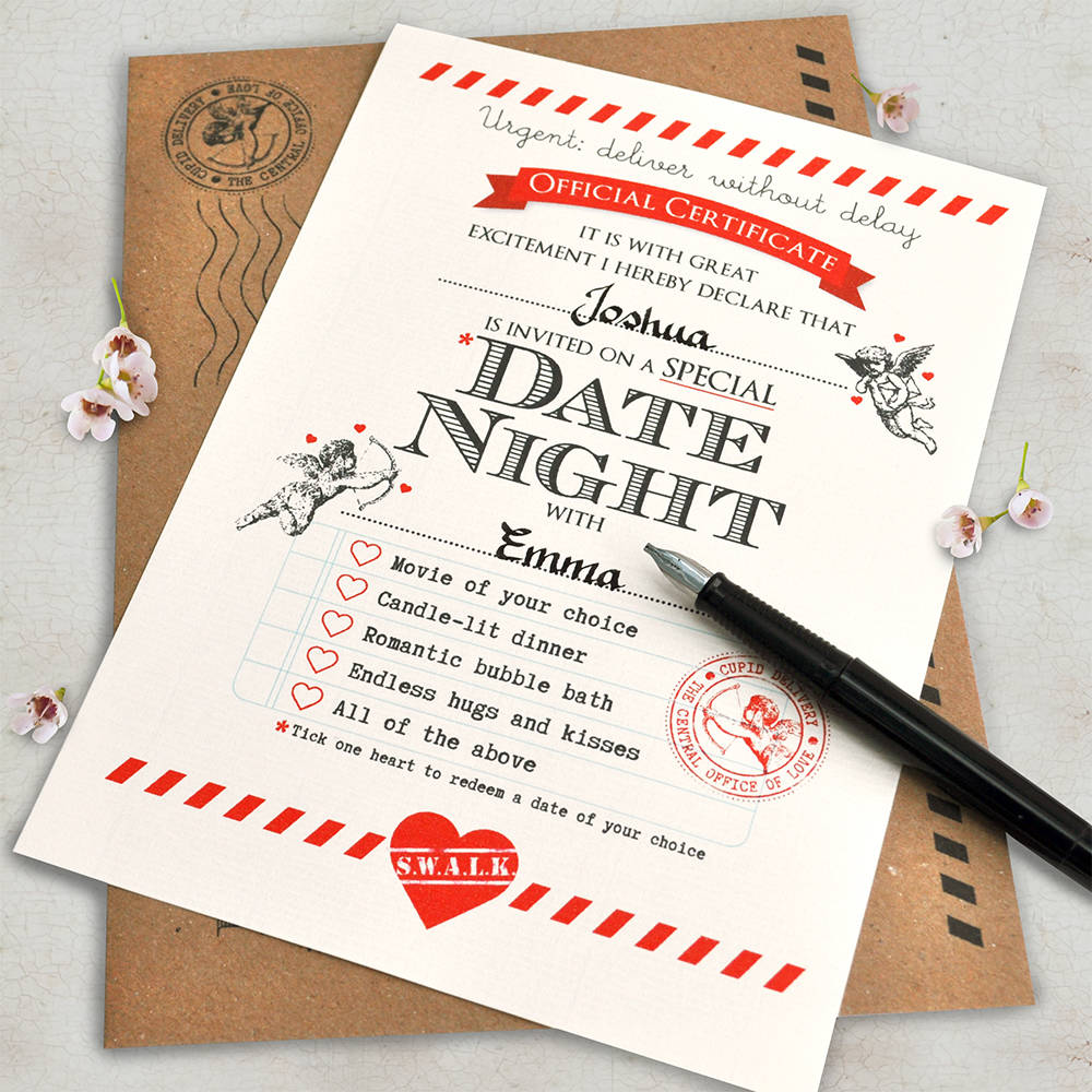 Personalised Date Night Certificate By Eskimo Kiss Designs