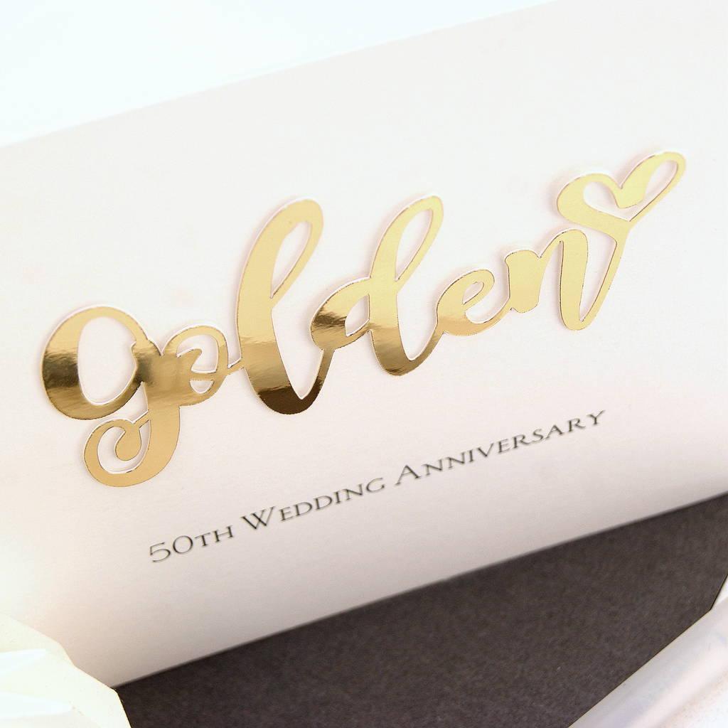 50th golden wedding anniversary card by the hummingbird