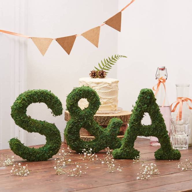 Moss Covered B A R Letters With Copper Micro Lights
