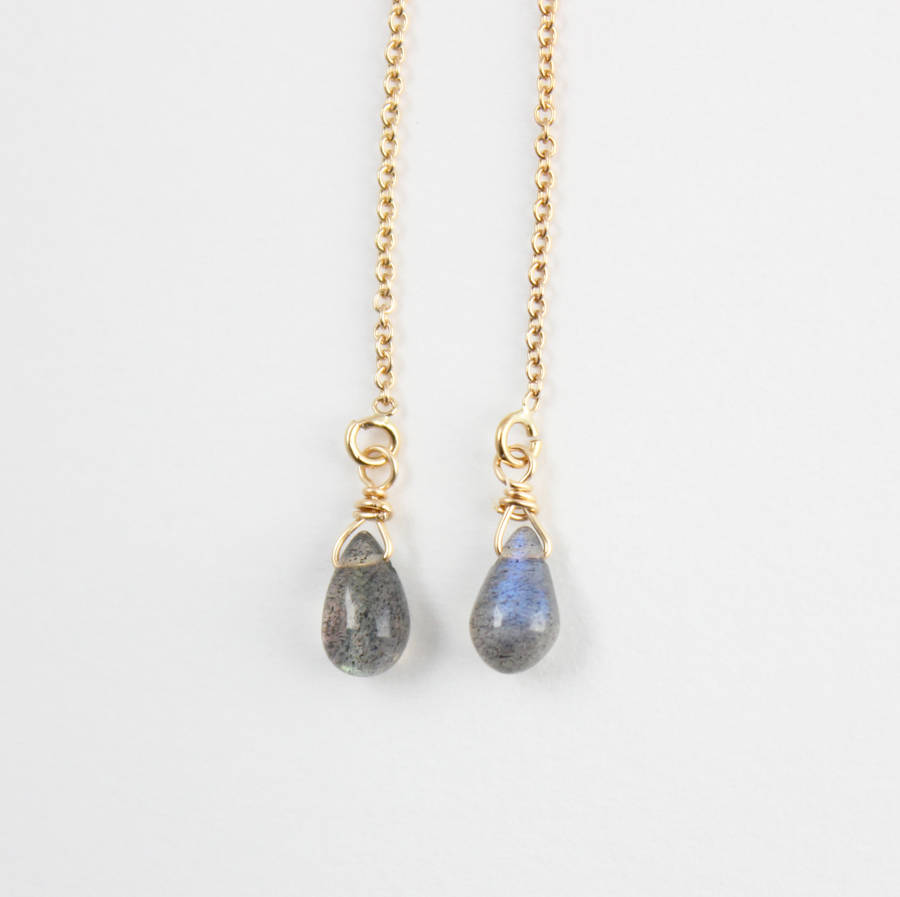 labradorite and gold filled threader earrings by beadin