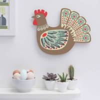 hen design plywood decorative wall art by beyond the ...