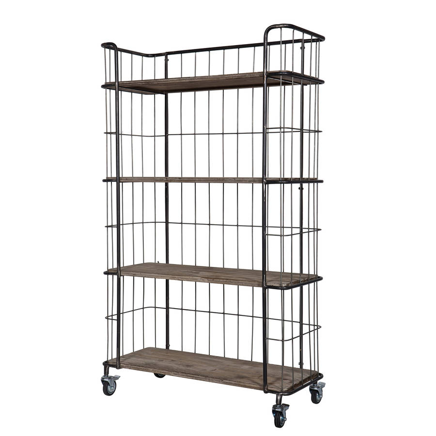 industrial trolley storage with four shelves by cuckooland