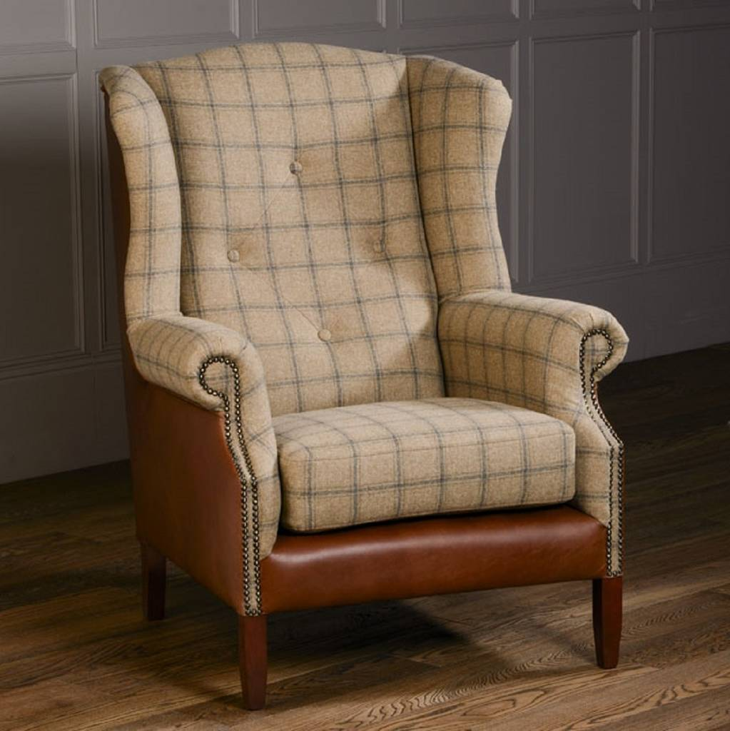 Brown Leather Wingback Chair Leather Buttoned Wing Chair Leather Or Tweed
