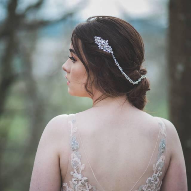 drape rhinestone and pearl double bridal hair comb