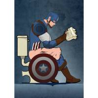 captain america on the toilet poster wall art print by ...
