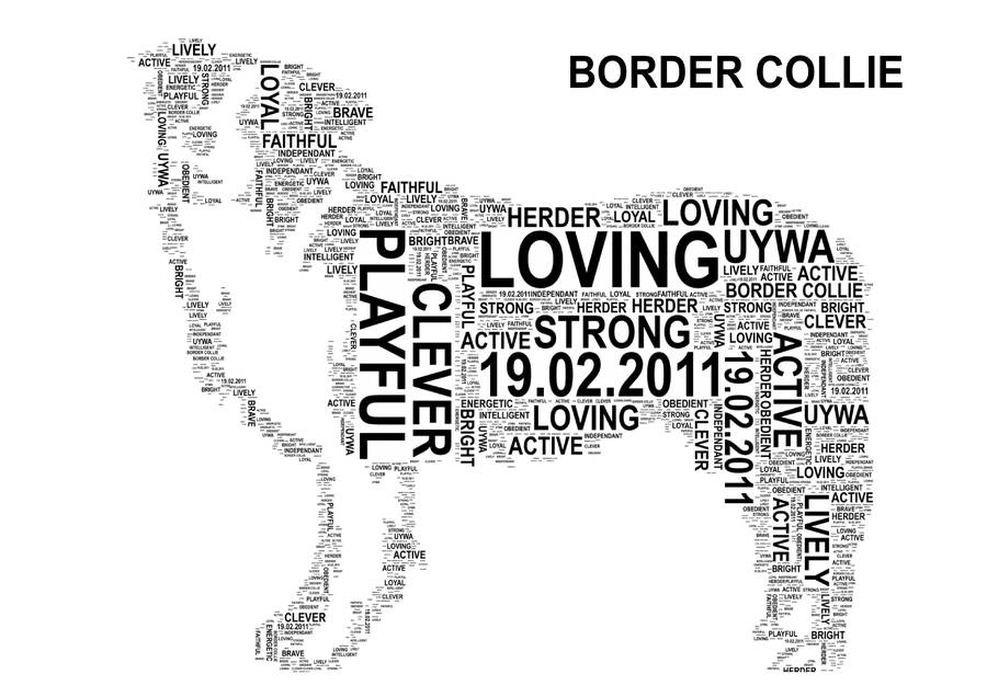 dog personalised word art print by unique word art