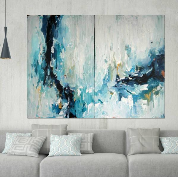 Epiphany Three Large Abstract Painting Diptych Omar Obaid Art