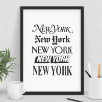 'new york' wall art typography print by the motivated type ...