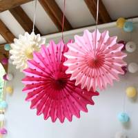 pastel paper fan decoration set by red lilly