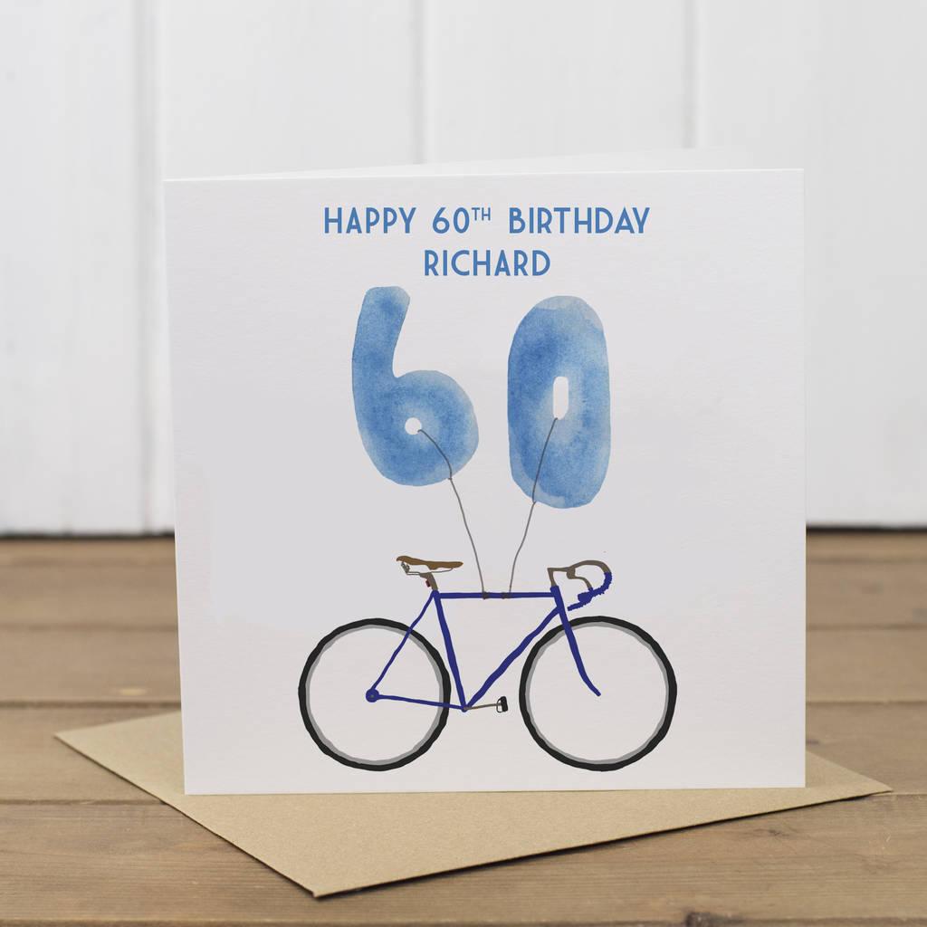 Personalised Bike 60th Birthday Card By Yellowstone Art