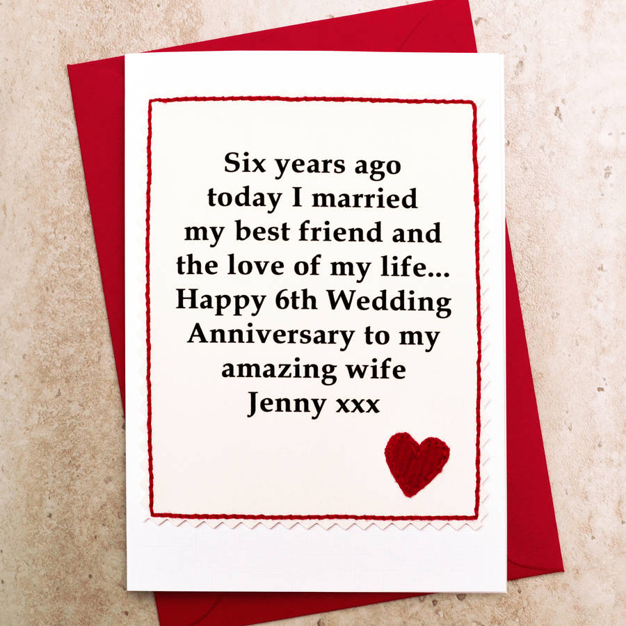 Personalised 6th Wedding Anniversary Card By Jenny Arnott