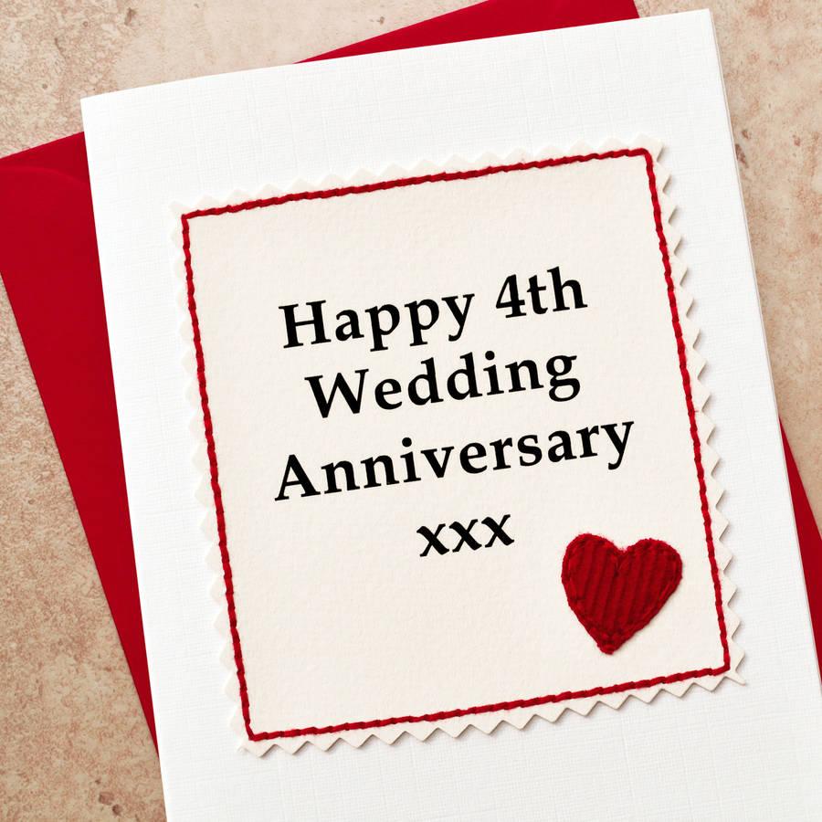 handmade 4th wedding anniversary card by jenny arnott cards  gifts  notonthehighstreetcom