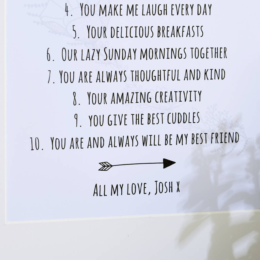 Personalised Ten Things I Love About You Print By Posh