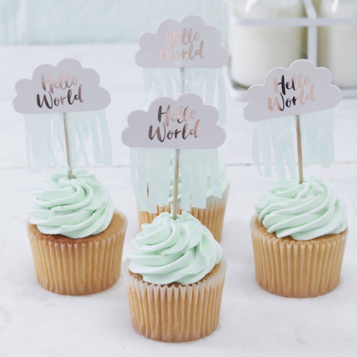 Rose Gold Cloud Shaped Baby Shower Cupcake Toppers