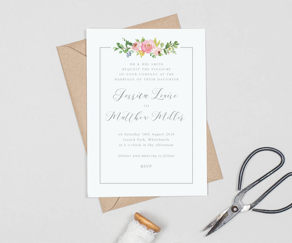 country floral border wedding invitations by project