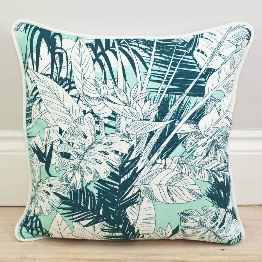 how to clean belgian linen sofa la z boy chaise tropical palm leaf cushion by little paradise ...