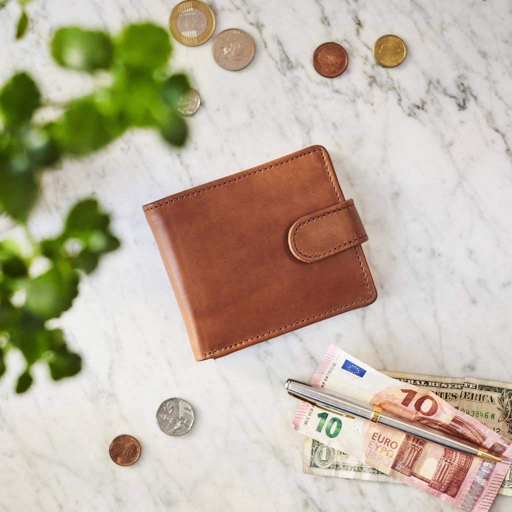 Leather Tri Fold Wallet With Metal Photo Insert By Vida Vida | notonthehighstreet.com