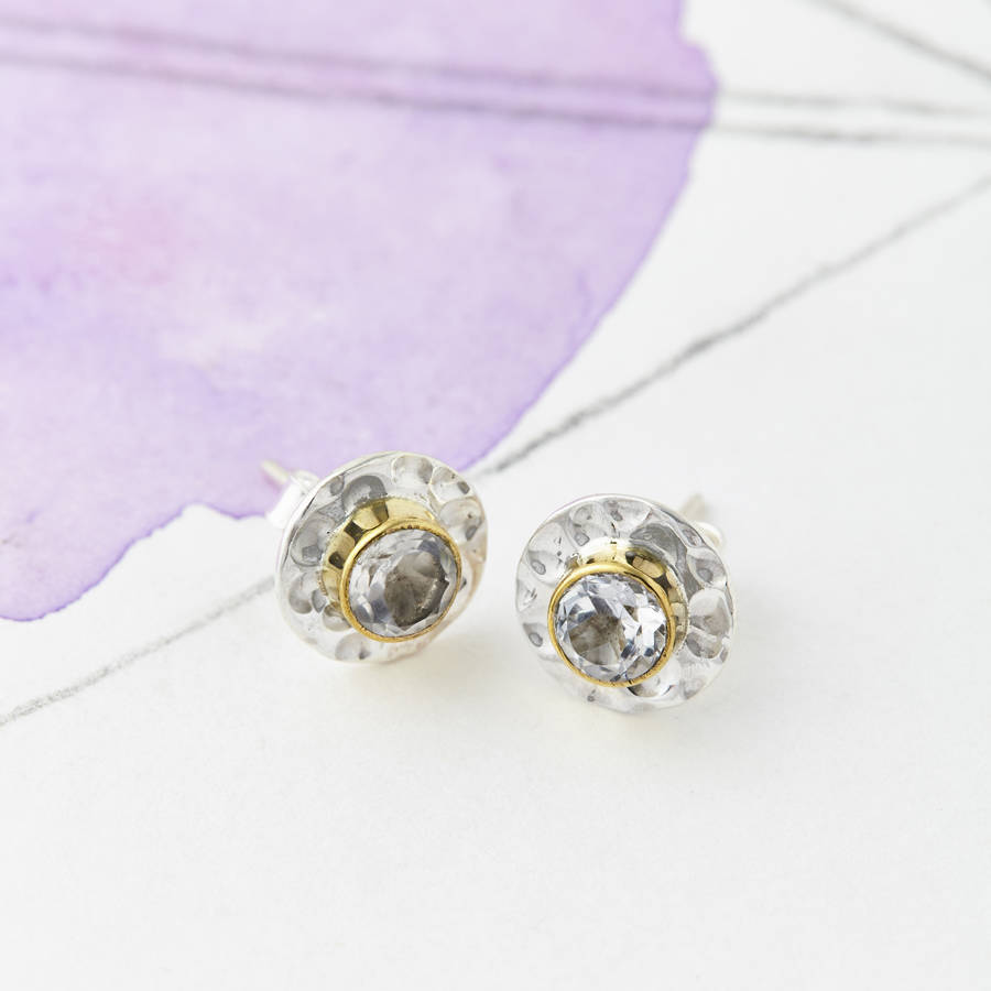 gemstone disc stud earrings by charlotte's web jewellery