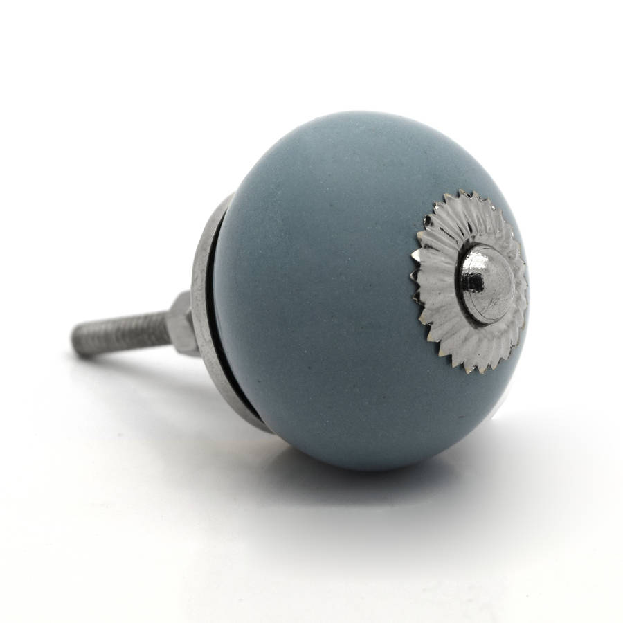 grey ceramic cupboard knob by pushka home