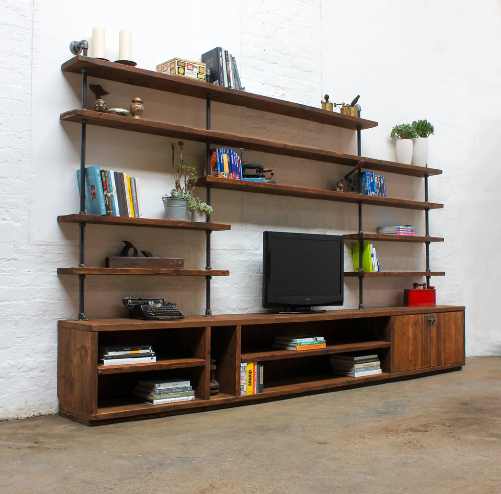 Tv Board Industrial Hector Reclaimed Scaffold Board Multi Media Unit By Urban Grain | Notonthehighstreet.com