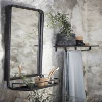 large industrial wall mirror with mini shelf by the forest ...