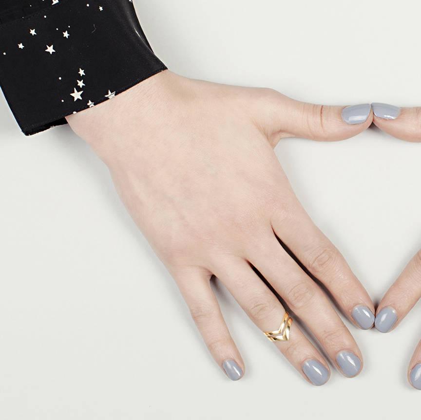 gold double arrow knuckle ring silver by mei