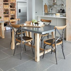 kitchen table small rubber mats industrial dining tables notonthehighstreet com salford zinc top or large