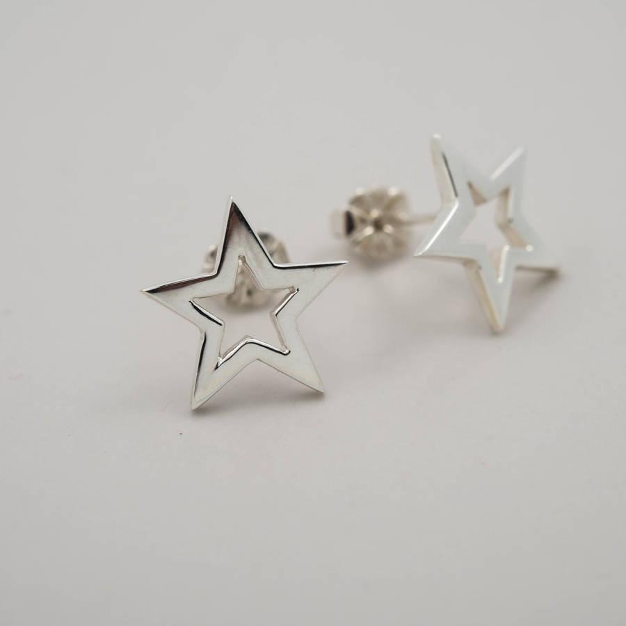 sterling silver star earrings by daniel musselwhite