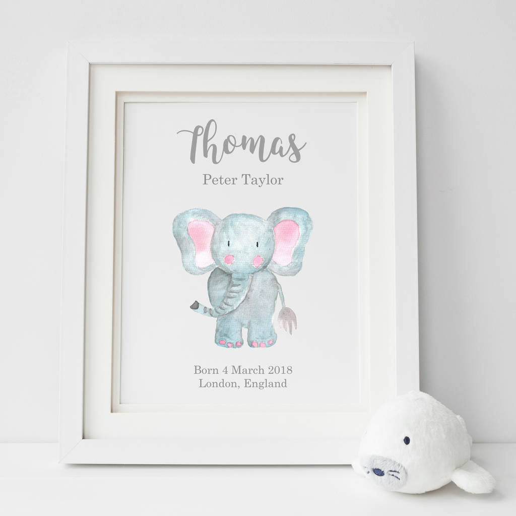 personalised new baby elephant