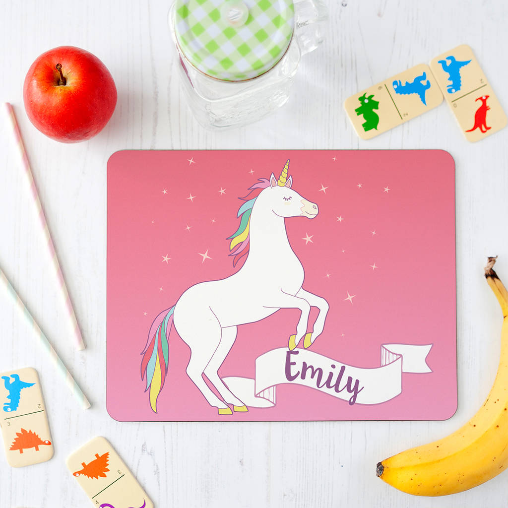 personalised unicorn placemat for