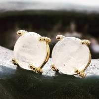 moonstone gold stud earrings by gabi wolf jewellery