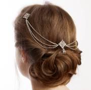 silver bridal hair chain headpiece