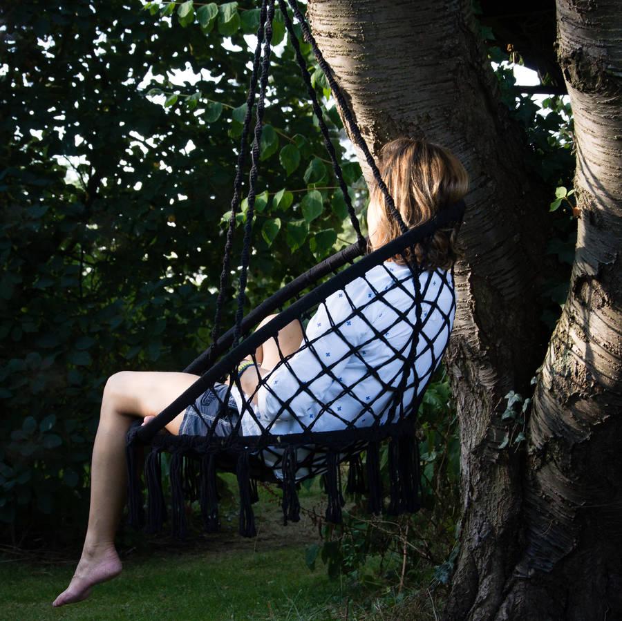 hanging chair notonthehighstreet bedroom crushed velvet black macrame by ella james com