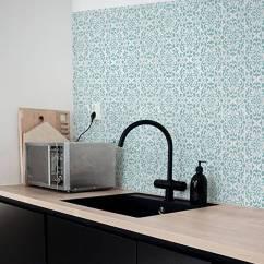 Wallpaper For Kitchen Walls Hood Designs Vintage Flower Backsplash By Lime