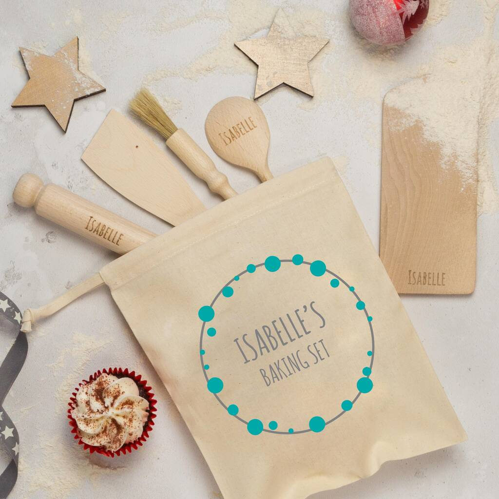 Personalised Childs Baking Set Bubbles Wreath By Rocket