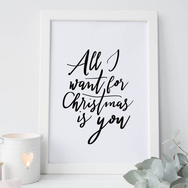 39all i want for christmas is you39 hand lettered print by