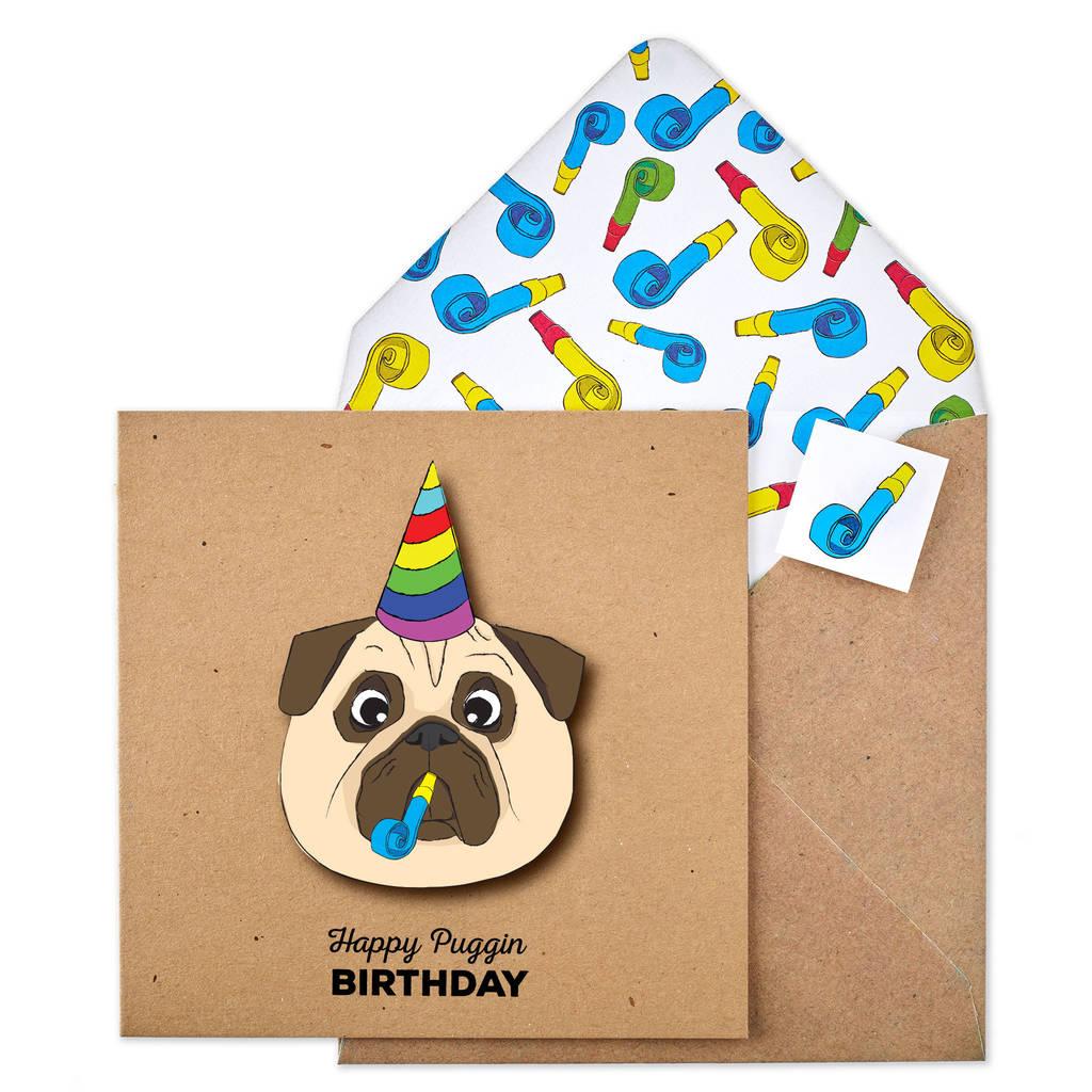 Handmade Pug Happy Birthday Personalised Card By Tache