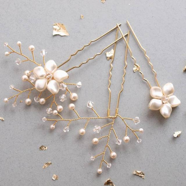 petal wedding hair pin set of three