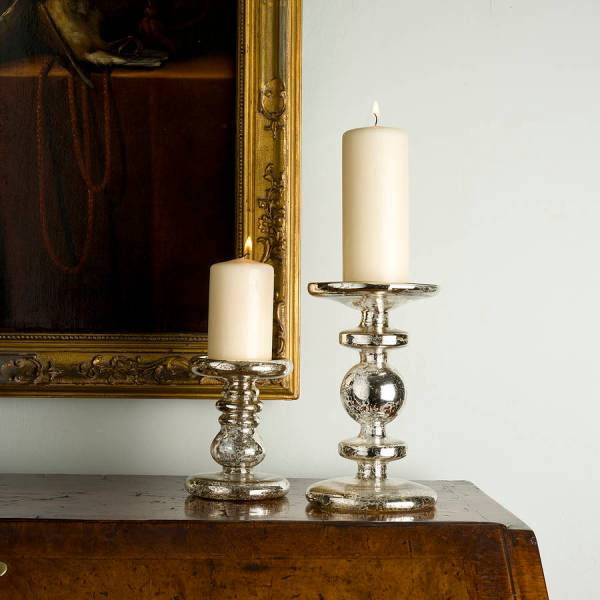 Antiqued Silver Candlestick Brighton