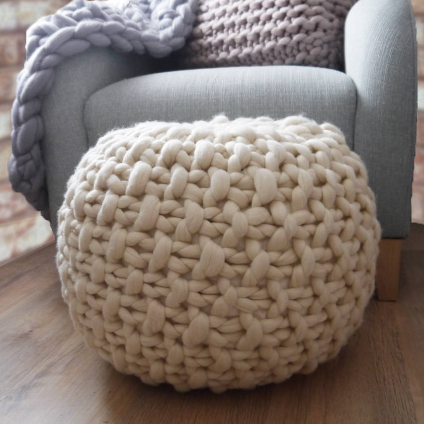 Classic Plympton Hand Knitted Footstool By Lauren Aston