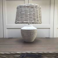 grey ceramic lamp base with wicker shade by cowshed ...