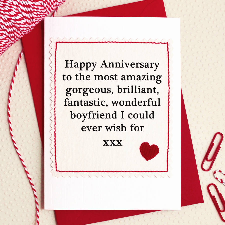 Husband Boyfriend Handmade Anniversary Card By Jenny