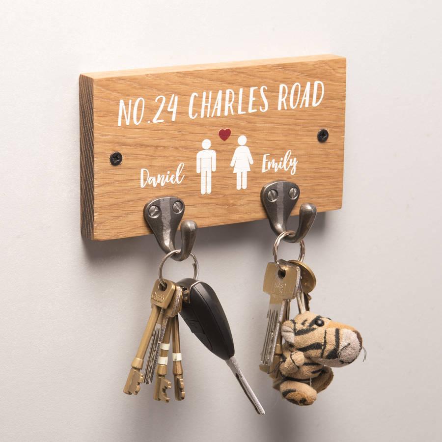 Personalised Couples Oak Key Holder By Oakdene Designs