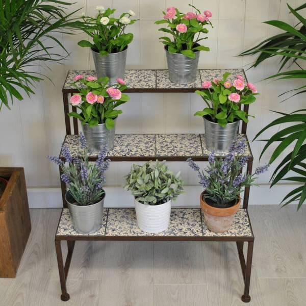 Stylish Ditsy Ceramic Etagere Three Tier Plant Stand