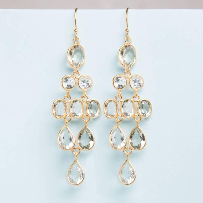 Green Amethyst Gold Chandelier Drop Earrings
