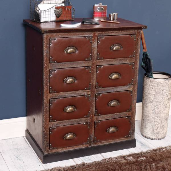 Faux Leather Drawers Chest