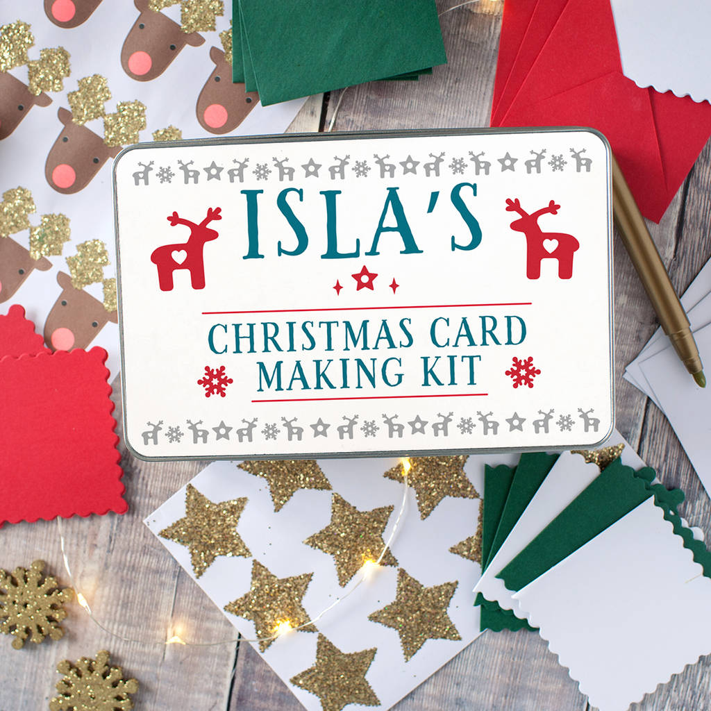 Personalised Christmas Card Making Kit For Children By The