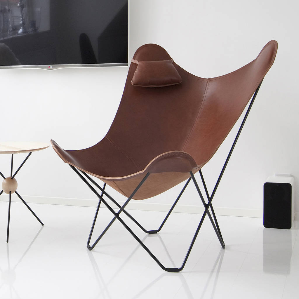 Brown Leather Butterfly Chair Leather Butterfly Chair By Grattify Notonthehighstreet