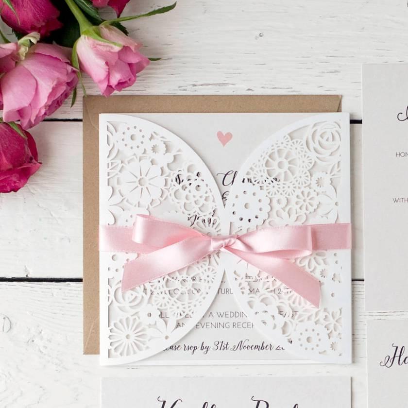 Pearlescent Laser Cut Wedding Invitation